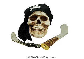 Pirate skull and daggers - Pirate Skull with eye sockets and...