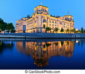 Reichstag building in Berlin, Germany, at night