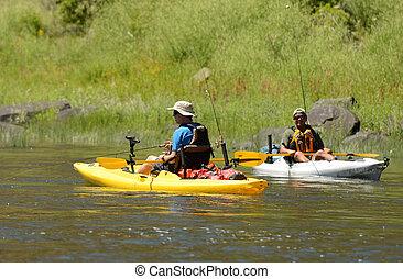 two men kayaking in river