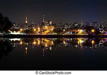Sao Paulo, Ibirapuera Park - Night view of the city sao...