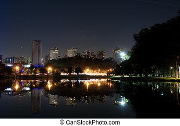 Sao Paulo, Ibirapuera Park - Night view of the city sao...