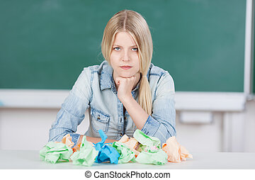 Student with writers block - Pretty young blond student or...