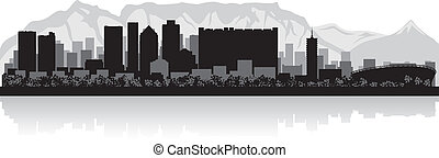 Cape Town city skyline vector silhouette - Cape Town city...
