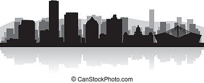Durban city skyline vector silhouette