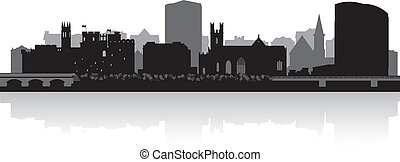 Limerick city skyline vector silhouette - Limerick city...