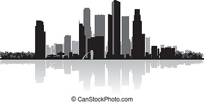 Singapore city skyline vector silhouette - Singapore city...