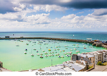 View to the port of Granville, France - View of the port of...