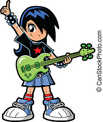 Anime Manga Girl Rock Star - Anime Manga Girl Goth Emo Rock...