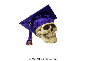 Graduation mortar board and skull - Graduation mortar board...
