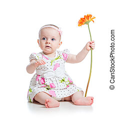 beautiful baby girl with flower isolated on white