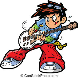Anime Manga Guitar Player - Anime Manga Rock Star Guitar...