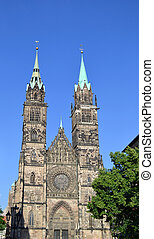 St Lawrence Church, Nuremberg - Gothic facade of St Lawrence...