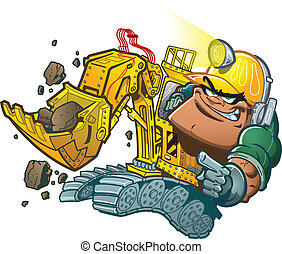 Backhoe Driver - Cartoon Backhoe Driver with Helmet Lamp