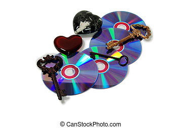 Relationship software - A couple of purple dvds with red...