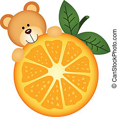Teddy bear eating orange slice - Scalable vectorial image...