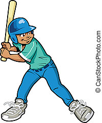 Boy Baseball Batter - Young Boy Baseball or Softball Batter