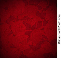 Red Velvet Background - Roses Flowers - Closeup detail of...