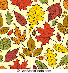 autumn leaves - Vector illustration of seamless pattern with...