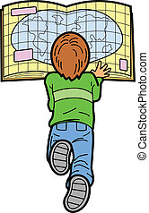 Boy Reading Map - Boy Laying on the Floor Reading a Map