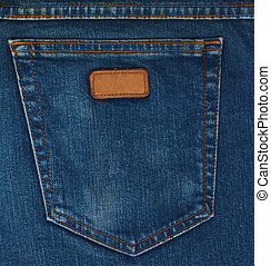 Blue Jeans Pocket Closeup - Blue jeans fabric with back...