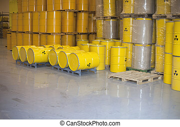 radioactive barrels - Yellow barrels with radioactive waste...