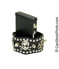 Tough business - Leather straps with metal spikes around...