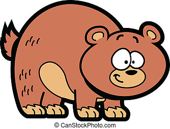 Cartoon Bear - Smiling Happy Brown Cartoon Grizzly Bear