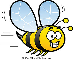 Cartoon Bee - Happy Smiling Cartoon Bee Flying