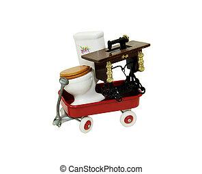 Vintage Items en route - Porcelain toilet with wooden seat...