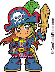 Cute Girl Pirate - Cute Young Anime Manga Girl in Pirate...