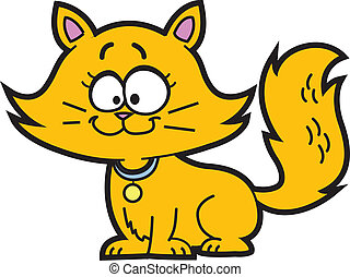 Cartoon Kitten - Cute Happy Orange Cartoon Kitten