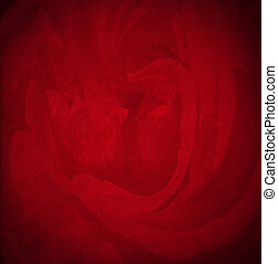 Red Velvet Background - Rose Flower - Closeup detail of aged...