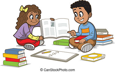 Children With Books - Happy Girl and Boy Sitting on the...