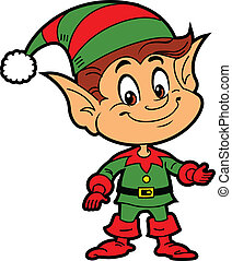Christmas Elf - Happy Smiling Boy Christmas Santa's Elf