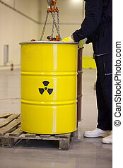 radioactive waste - Yellow barrels with radioactive waste...