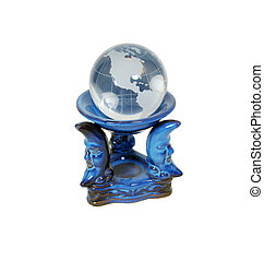 Crystal Globe - Crystal globe with navigational lines on a...