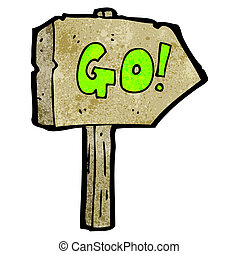 go sign cartoon