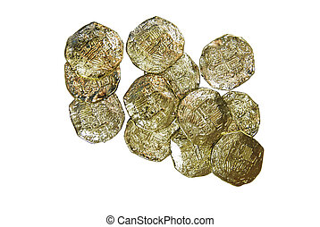 Gold Coins - Closeup of a gold coins purchased as an...