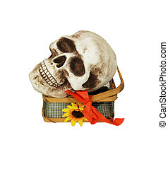 Irony of styles - A skull in a sunny country basket made of...