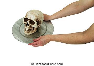 Skull on a silver platter