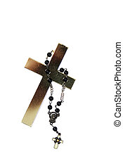 Golden cross and rosary - Tall Golden cross representing...