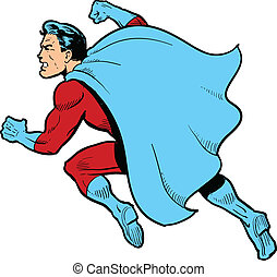 Fighting Superhero - Classic superhero with cape fighting...