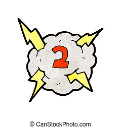 cartoon thunder cloud with number two