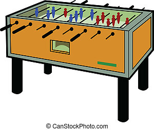 Foosball Table - Cartoon Illustration of a Foosball Table
