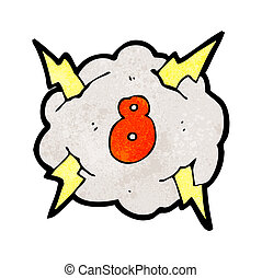 cartoon thunder cloud with number eight
