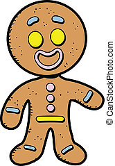 Gingerbread Man - Happy Smiling Cartoon Gingerbread Man...