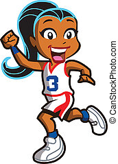 Girl Basketball Player - Smiling Ethnic Girl Basketball...