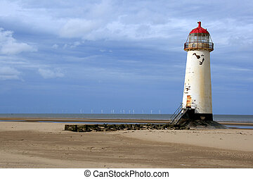 The crooked lighthouse on talacre beach - crooked lighthouse...