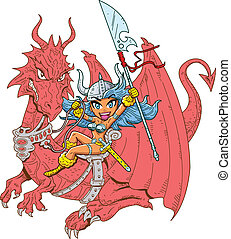 Girl Dragon Rider - Mythical Girl Dragon Rider with Sword...