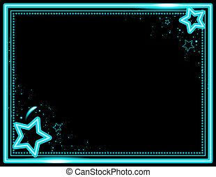 Neon Star Frame - Stars and sparkle decorate this neon...